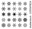 Set of decorative snowflakes - stock vector