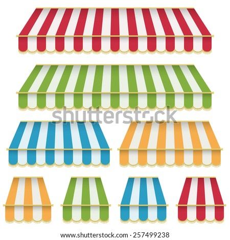set of decorative striped awning, with tassels, isolated on white