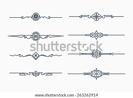 Set of 8 decorative text dividers - stock vector
