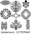 Set of decorative vintage floral patterns on white - stock vector