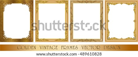 set of decorative vintage frames and borders setgold photo frame with corner thailand line