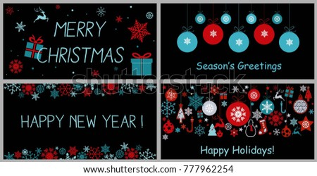 set of decorative winter cards, Christmas background with snowflakes, reindeer, ball tree ornaments, star and gift boxes in bright blue, red and white colors on black