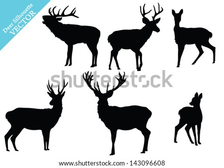 Set of Deer Silhouettes. Vector - stock vector