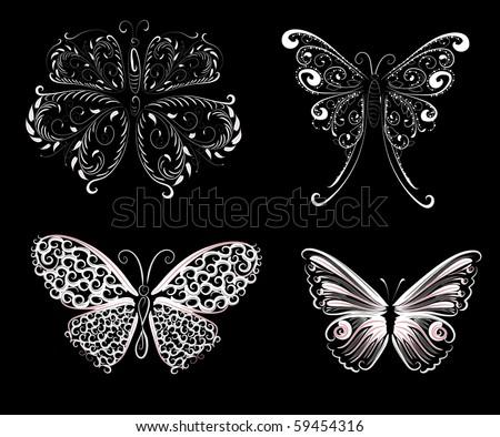 set of delicate butterflies - stock vector