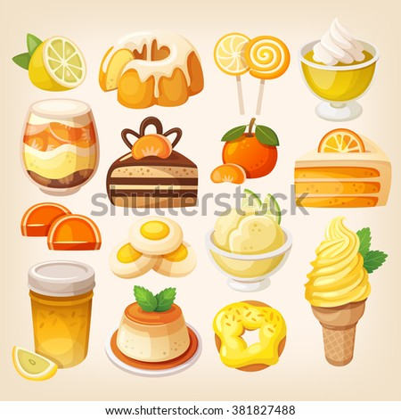 Set of delicious sweets and desserts with citrus flavors - stock vector