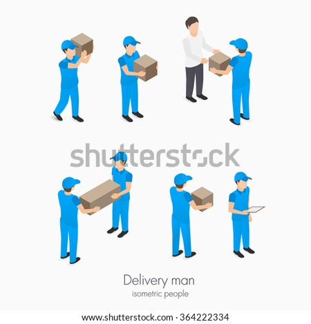 Set of delivery service man with boxes in blue vector isometric illustration - stock vector