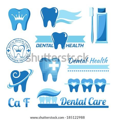 Set of dental decorative elements - stock vector