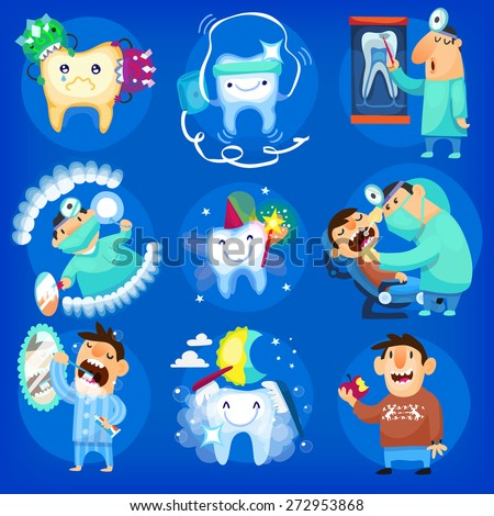 Set of dental icons and illustrations with man, taking care of his teeth at the dentist's and at home - stock vector