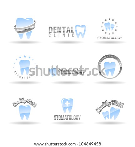 Set of dental icons. Stomatology. Set 1. - stock vector