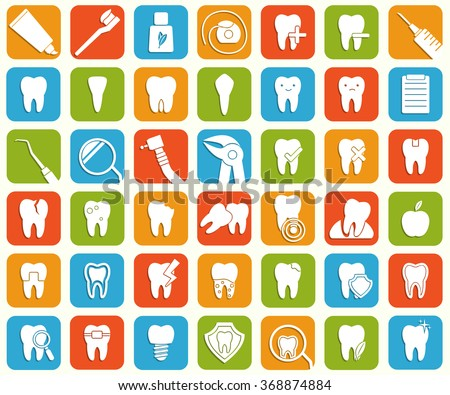Set of 42 dental icons. Stomatology signs. Hygiene,treatment, issues, tools, protection, problems, tooth icons. Vector illustration - stock vector