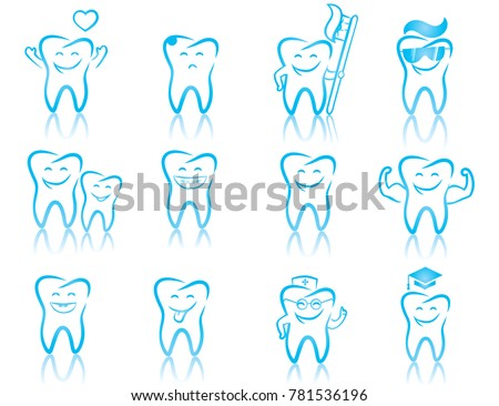 Set Of Dentistry Symbols Dental Tools Braces Teeth Toothache Hygiene