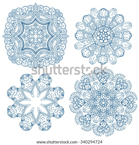 Set of design circle elements. Abstract blue decorative. Vector art.  - stock vector