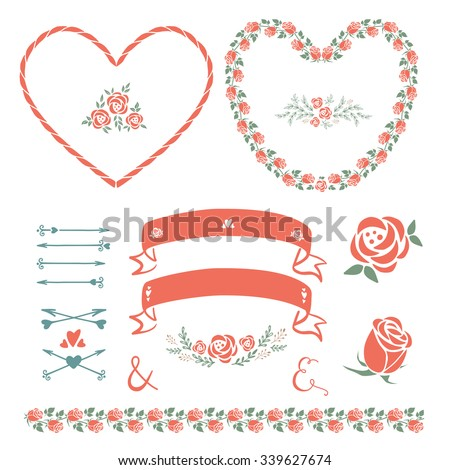 Set elements design arrows hearts love stock vector 626233055 set of design decorative elements vector design elements for wedding invitations birthday or greeting junglespirit Choice Image