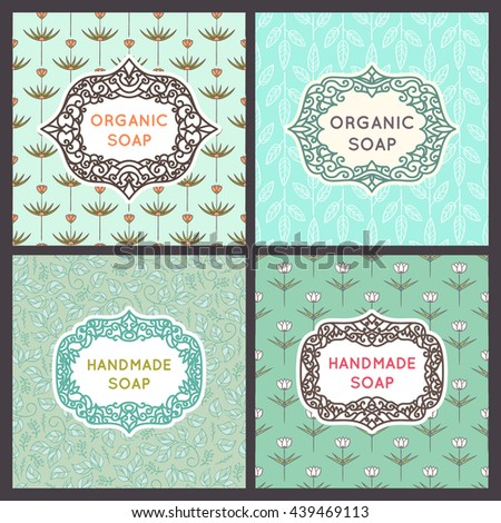 Set of design elements and frames in trendy linear style for soap package. Vector retro style illustration. Old fashioned vintage frame. Foliage patterns.