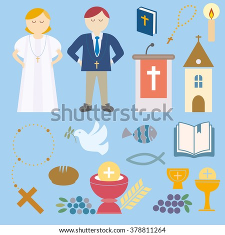 Set of design elements for First Communion - stock vector