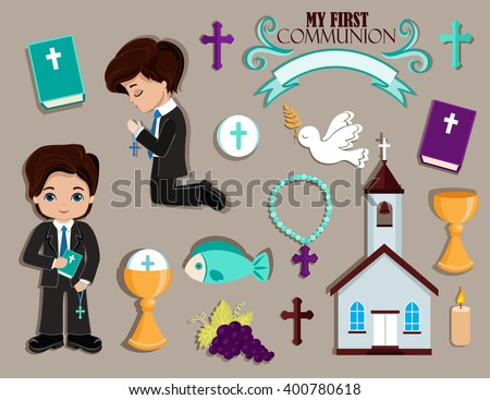 Set of design elements for First Communion for boys. - stock vector