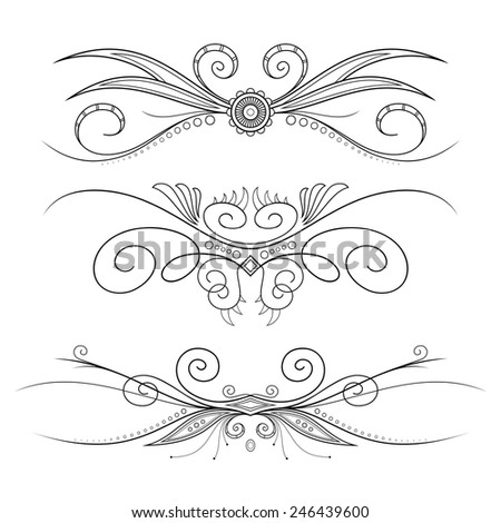 Set of Design Elements for Page Border. Frames and Scroll Elements - stock vector