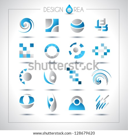 Set of design elements for your project. Mixed abstract shapes with shadows - stock vector