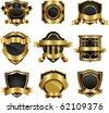 Set of design elements golden frame - stock vector