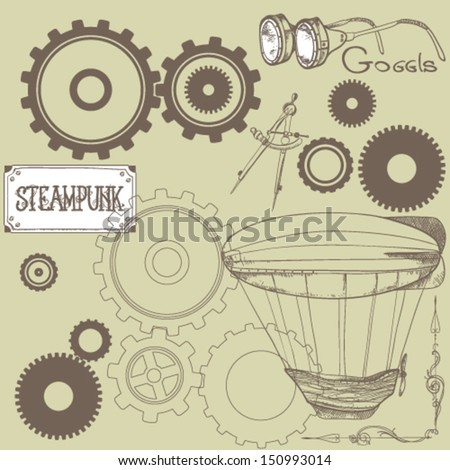 set of design elements in the style of steam punk - stock vector