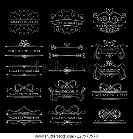 Set Of Design Elements Isolated On Background - Vector Illustration, Graphic Design Editable For Your Design. Calligraphic Borders And Page Decoration - stock vector