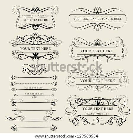 Set Of Design Elements Isolated On Beige Background - Vector Illustration, Graphic Design Editable For Your Design. Calligraphic Borders And Page Decoration