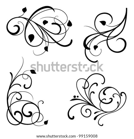 Set of design elements on a white background - stock vector