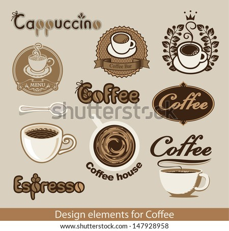 set of design elements on the coffee theme - stock vector