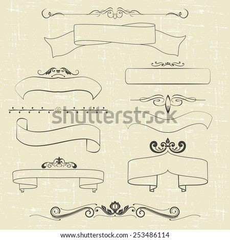 set of design elements, ornamental vintage frames and decoration. vector illustration - stock vector