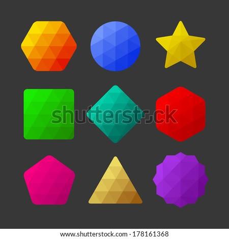 Set of design elements. Polygonal geometric shapes - stock vector