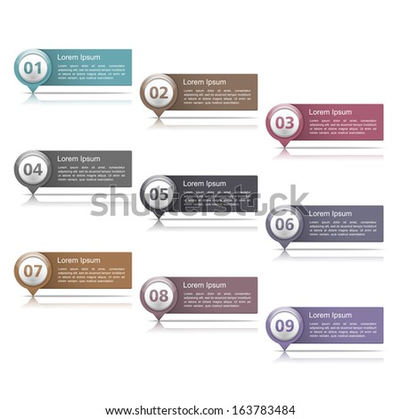 Set of design elements with numbers and place for your text, vector eps10 illustration - stock vector