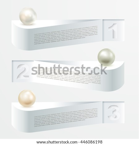 Set of design elements with pearls for your business site. Isolated on white background, Vector illustration - stock vector