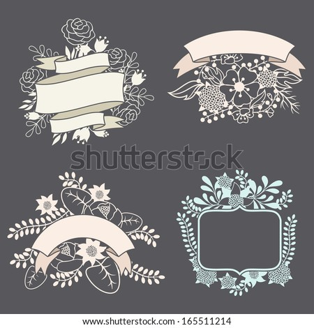Set of design elements with ribbons, labels and flowers . - stock vector