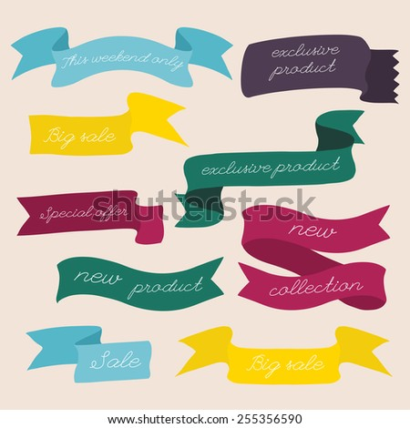 Set of design sale discount styled banners ribbons.  Vector illustration. - stock vector