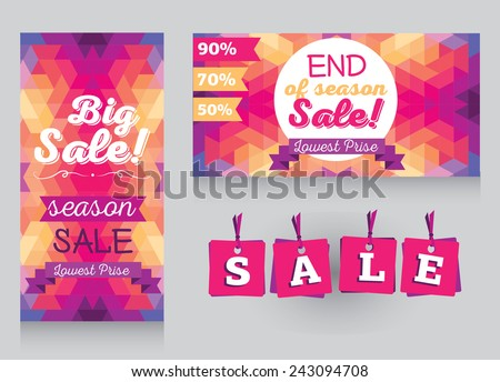 set of design templates for season sale, vector illustration - stock vector