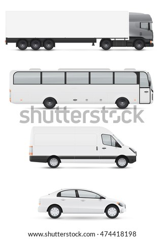 Set of design templates for transport. Mockup of white passenger car, bus and van. Branding for advertising and corporate identity.