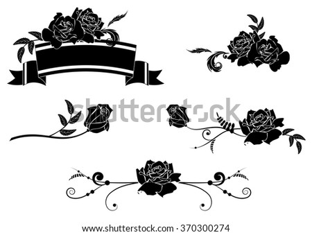 set of design vector elements with roses - stock vector