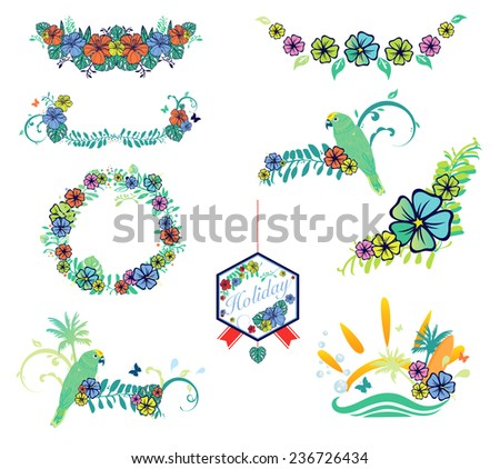 Set of designs on vacation theme with hibiscus, flower, parrot, butterfly, surfboard and sun - stock vector