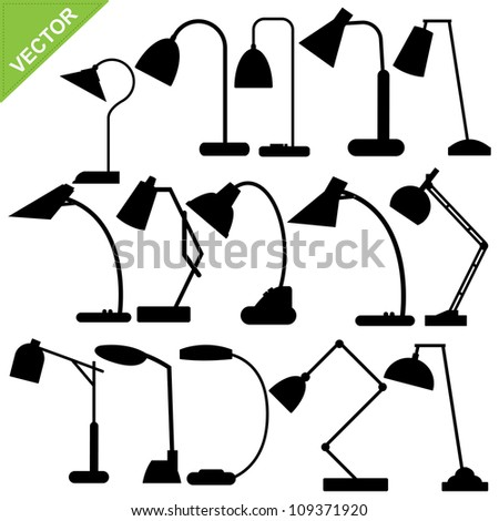Set of desk lamp silhouettes vector - stock vector