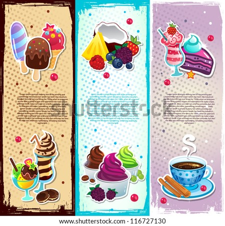 Set of dessert bookmarks