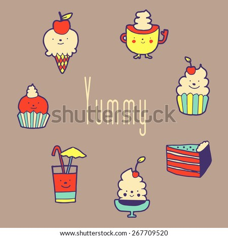 """Set of dessert. Lovely confectionery in hand draw style.  Card has space for text """"Yummy"""". Vector eps 10 - stock vector"""