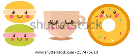 Set of desserts. Vector illustration  - stock vector