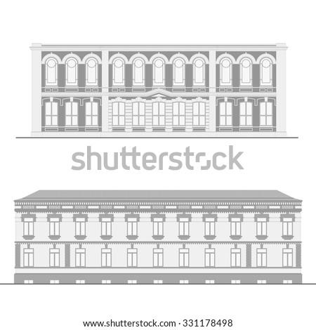 Set of detailed b/w building facades - stock vector