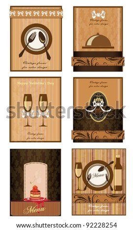 Set of 6 detailed business cards. For cafe and restaurant