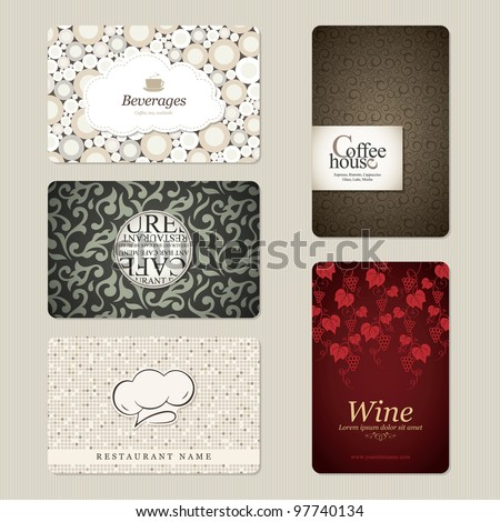 Set of 5 detailed business cards. For cafe and restaurant - stock vector