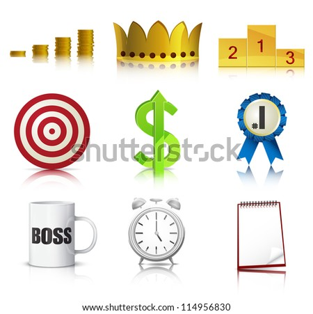 Set of detailed business concept icons. EPS10 vector. - stock vector