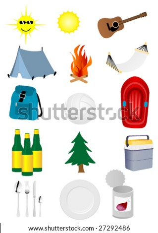Set of detailed camping and excursion elements - stock vector