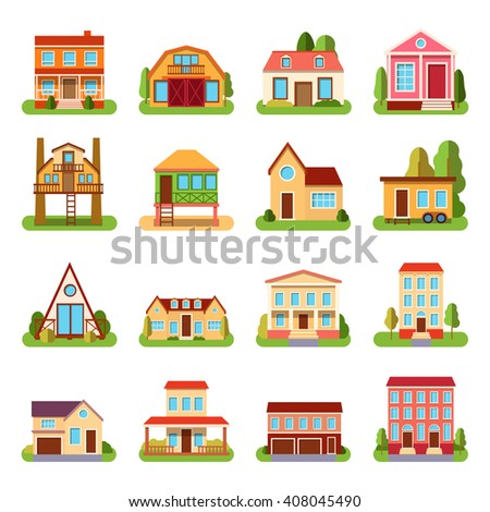 Set of detailed colorful cottage house building flat style modern constructions vector illustration. House building architecture home construction and urban house building apartment. House building. - stock vector