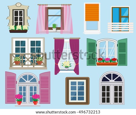Balcony window stock images royalty free images vectors for Different types of house windows
