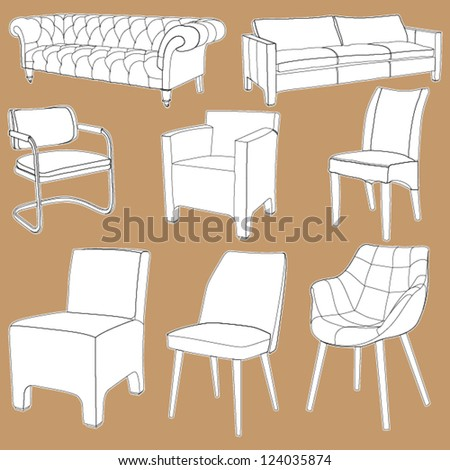 Set of detailed couch, chair and sofa outlines, layered - stock vector